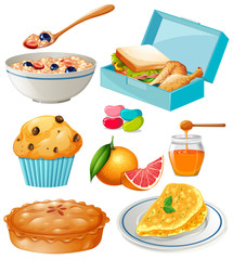 Different kind of food and dessert