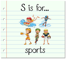 Flashcard letter S is for sports