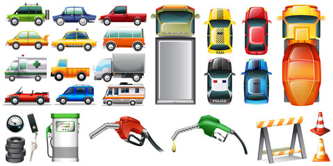 Different kind of automotives and petrol