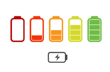 Iconы battery with a charge level colored raster Vector