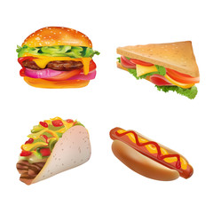 Vector Realistic fast Food Set. Burger,Hot Dog, Sandwich,Taco. Isolated On White background.