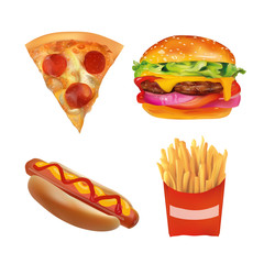 Vector Realistic fast Food Set. Burger, Pizza, Beverage, Coffee, French Fries, Hot Dog,  Ketchup, Mustard. Isolated On White background