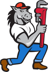 Horse Plumber Kneeling Monkey Wrench Cartoon