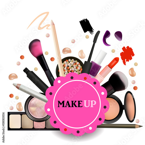 Make Up Artist Objects Lipstick Eye Shadows Eyeliner Concealer Nail Polish