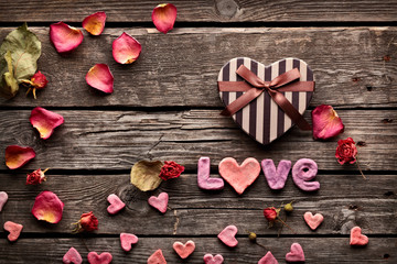 Word Love with heart Valentines Day gift box