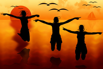 Three happy sporty women silhouette jumping at sunset into the sea with seagulls on background. Illustration.