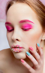 Candy Themed Styled Girl with Brown Hair in Studio on White