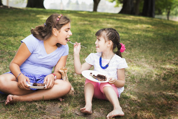 Girl feeding sister cake at birthday party in park