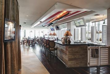 Bar counter in empty restaurant