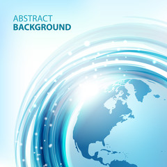 Blue abstract vector background with Earth. Round eco design. Abstract background for business presentations. Vector.