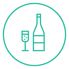 Bottle of champaign and glass line icon.