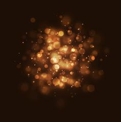 Bokeh effect golden light background. Golden Christmas concept. Vector yellow sparkling light explosion backdrop. Shiny volume star dust golden light on black background