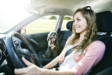 Caucasian woman driving with dog