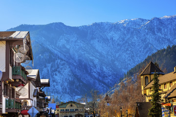 Winter Mountains Snow German Buildings Leavenworth Washington