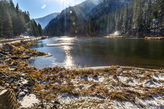 Winter Snow Ice  Wenatchee River Valley Leavenworth Washington