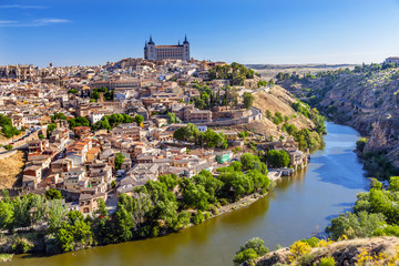 Alcazar Fortress Medieval City Tagus River Toledo Spain