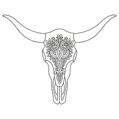 Decorative Indian bull skull with ethnic ornament.