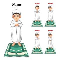 Muslim Prayer Position Guide Step by Step Perform by Boy Standing and 