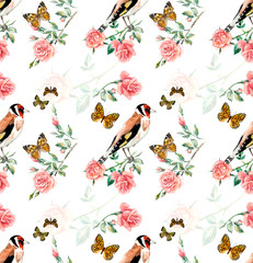 Goldfinches seamless. Pattern from roses. Water color painting. Roses background, watercolor composition. Flower backdrop.