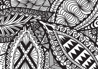 Leaves zentangle stylized for coloring book for adult, background, cards and so on