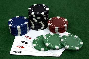 Card with poker chips