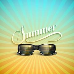 Summer retro label with sunglasses
