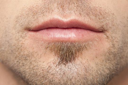 mans lips