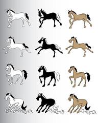 cartoon running horse silhouette vector illustration