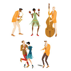 Set of vector illustrations with musicians and a couple dancing Charleston