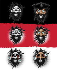 laughing bearded pirrate zombie skull illustration