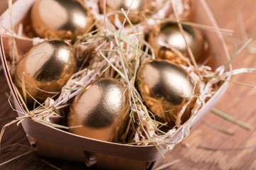golden chicken eggs closeup