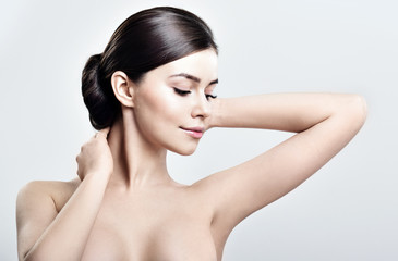 Young beautiful woman. perfect skin. armpit's care
