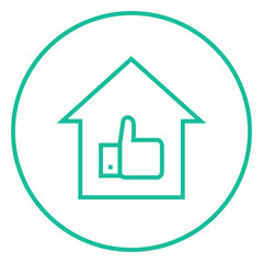 Thumb up in house line icon.