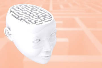 Composite image of maze as brain
