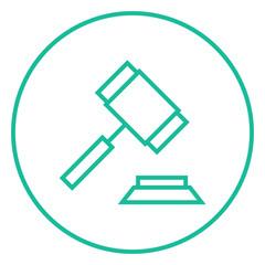Auction gavel line icon.