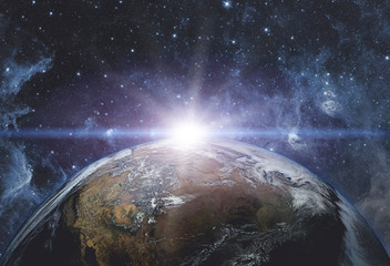 Wall Mural - View of the earth from the cosmos. Elements of this image furnished by NASA