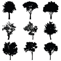 Set of nine trees vector silhouette