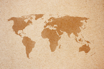 world map on natural brown recycled paper