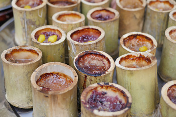 sweet glutinous rice in natural bamboo container
