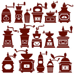 Set with different shapes vintage coffee mills silhouettes. Elem