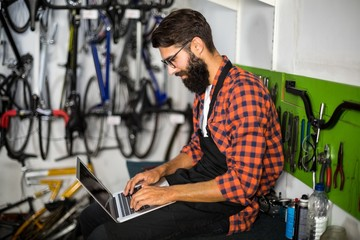 Bike mechanic checking laptop