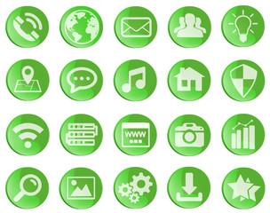 Wall Mural - Green web icons set