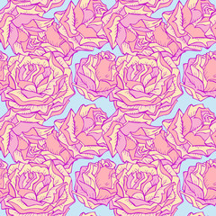 Vector seamless pattern with roses. In pink and blue colors.