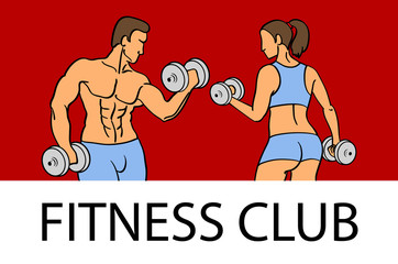 Man and woman Fitness template. Gym club logotype. Sport Fitness club creative concept. Bodybuilder and woman Fitness Model Illustration, Sign, Symbol, badge.