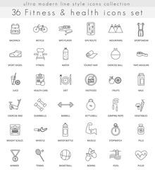 Vector fitness and health ultra modern outline line icons for web and apps.
