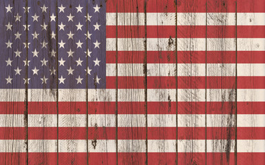 Flag of United States painted on wooden frame