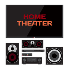 Home cinema system. Home theater flat vector illustration. TV, l