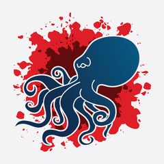 Octopus designed on splash blood background graphic vector.