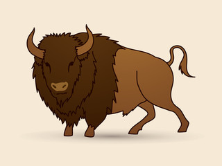 Buffalo standing graphic vector.