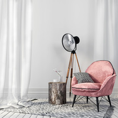 Stylish pink chair and a vintage spotlight